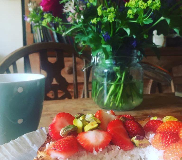 Rhubarb, strawberry, coconut summer tart
