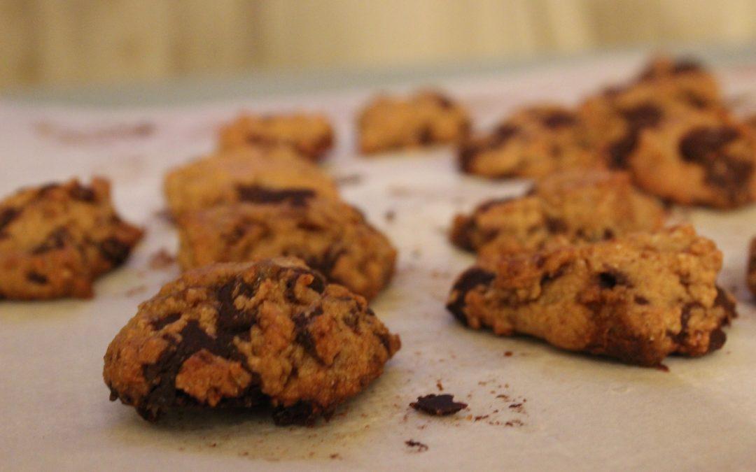 Chocolate, tahini biscuits